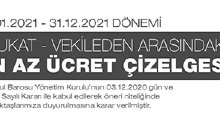 2021 İstanbul Barosu Asgari Avukatlık Tarifesi Ücretleri